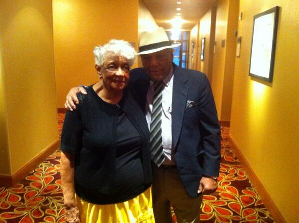 """Sugar"" Ramos and widow of Davey Moore(Geraldine), night before Moore statue dedication. 1st meeting since 3/63."