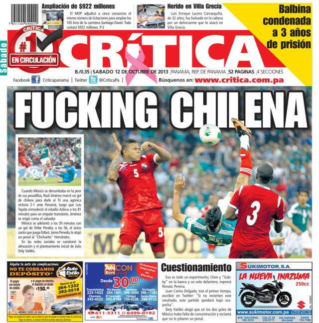 Epic Headline: Panama paper Crítica react to late Mexico defeat with F***ing Chilena front page banner