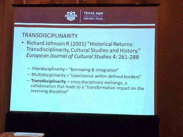 New term for those of us interested in academic outreach: Transdisciplinarity #OHA2013 http://twitter.com/oralhistreview/status/389405664721657856/photo/1