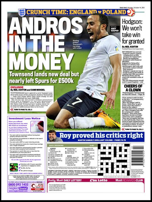 England starlet Andros Townsend agrees a new contract at Spurs; Almost tripling wages [Daily Mail]