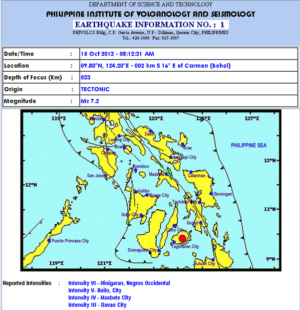 PHIVOLCS: 8am earthquake is magnitude 7.2 (magnitude- energy released at the source). Reported intensities here: http://twitter.com/ANCALERTS/status/389914989189812225/photo/1