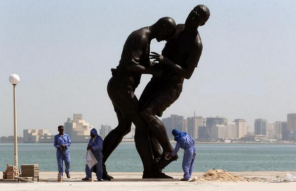 BWm6pu9CMAEsi4P Qatar removes the Zidane v Matterazzi headbutt statue after locals slam the artwork as anti Islam idolisation