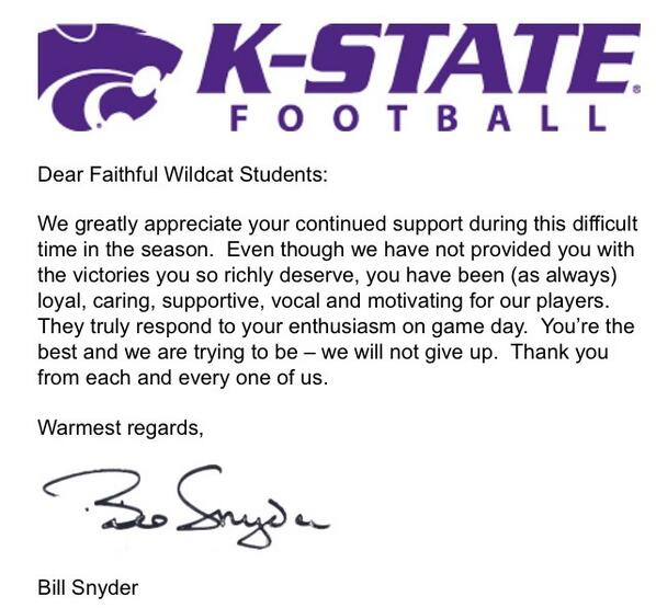 A letter from Bill Snyder to the K-State student body: http://t.co/n9XK0gQ4ej