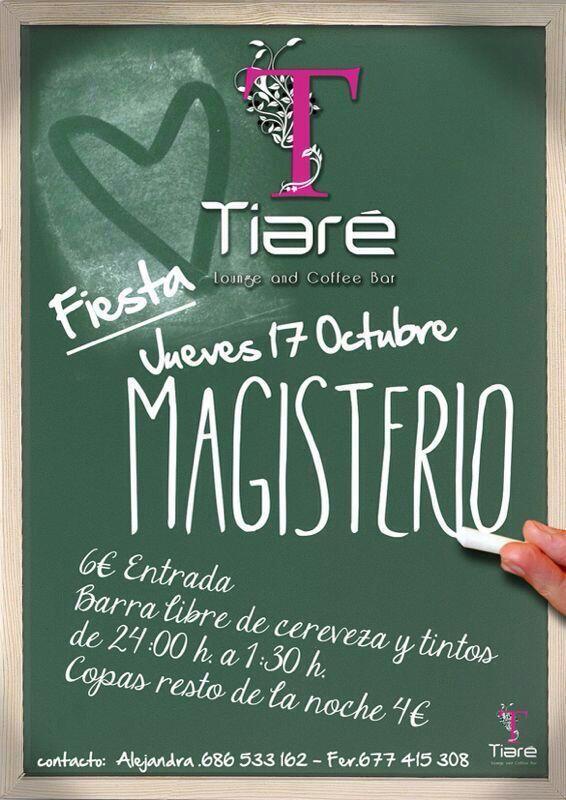 Fiesta de Magisterio en Tiaré este jueves. Barra libre de tinto/cerveza!Interesados mensaje privado. Os esperamos!:)