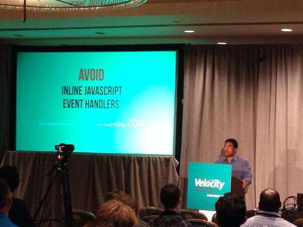Bing found that removing all JS element handlers on page reduced load time by 20% #velocityconf http://t.co/dnZ2F3lkHB