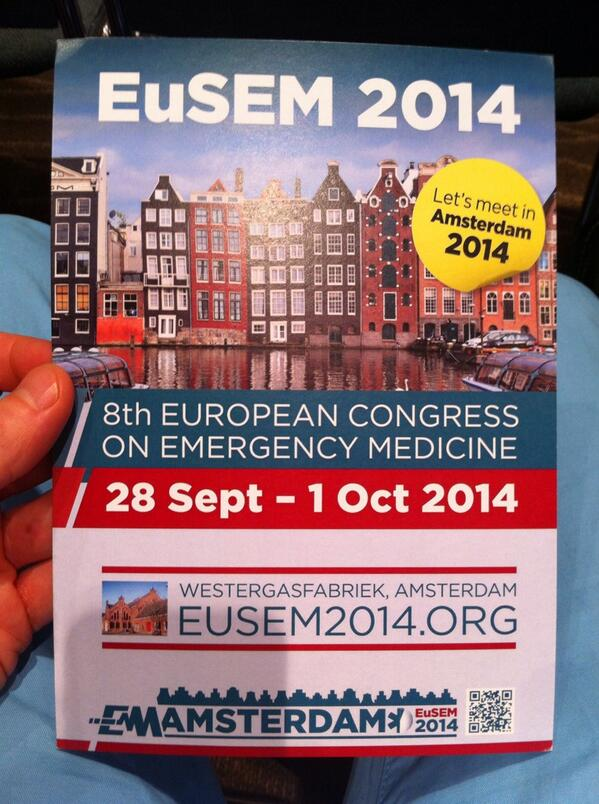 EuSEM 2014 (28 Sept- 1Okt) in Amsterdam, the Netherlands!  #ACEP13 http://twitter.com/EmergencyPaul/status/390260223903932416/photo/1