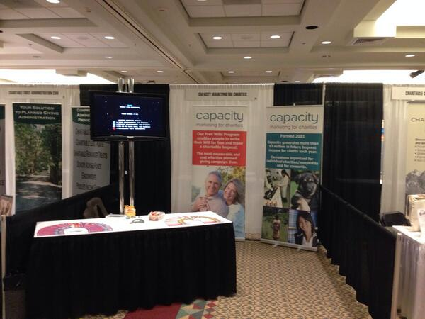 All set up for #2013NCPP Come see us to hear about an exciting new initiative and play our Quest For Bequests game! http://twitter.com/CapacityMktg/status/390200674178170880/photo/1
