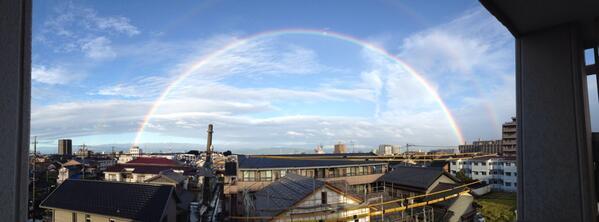 虹!虹!名古屋の人、西の空!めっちゃでかい!きれい!