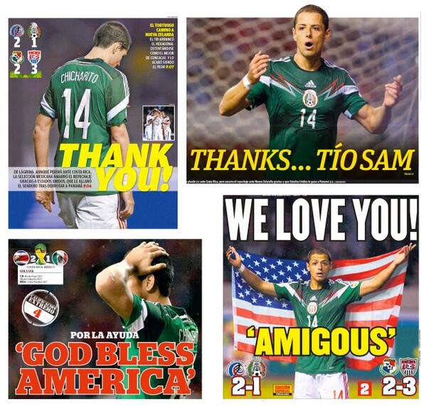 Montage of Mexican Thursday headlines giving thanks to Tio Sam after USA helped them qualify for WC play offs