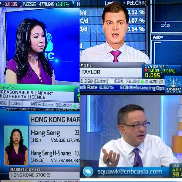 #SpiritDay is global! @MattCNBC, @CNBCBernie & Emily Chan reporting on the global markets in purple on @CNBCWorld! http://twitter.com/OUTNBCUniversal/status/390680925530361856/photo/1