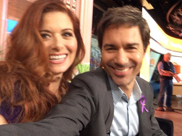 Selfie with her self @DebraMessing ! @TodayShow http://twitter.com/EricMcCormack/status/390812288401174529/photo/1