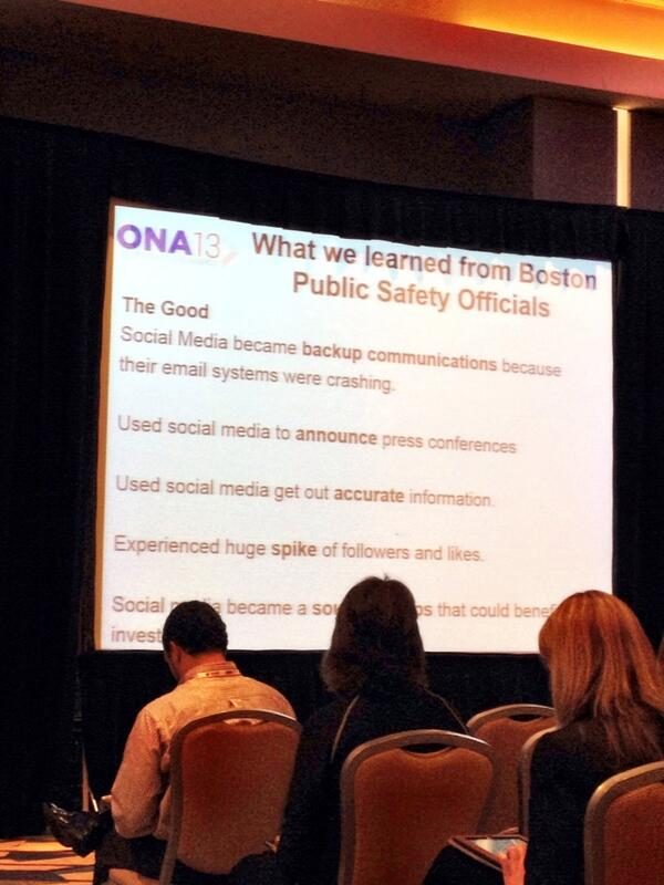 What Boston safety officials learned about social re: marathon bombings #ONAbreaking #ONA13 http://twitter.com/moniquebeech/status/390870274259709952/photo/1