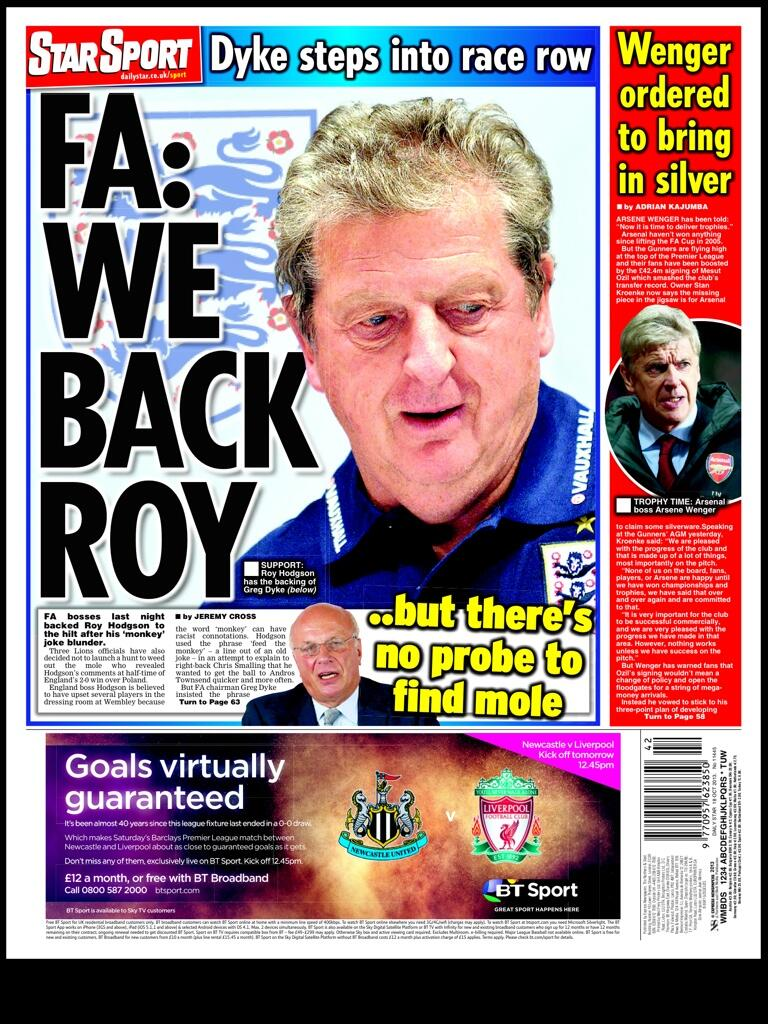 Thursdays Star Sport: FA backs Roy, no probe to find joke mole