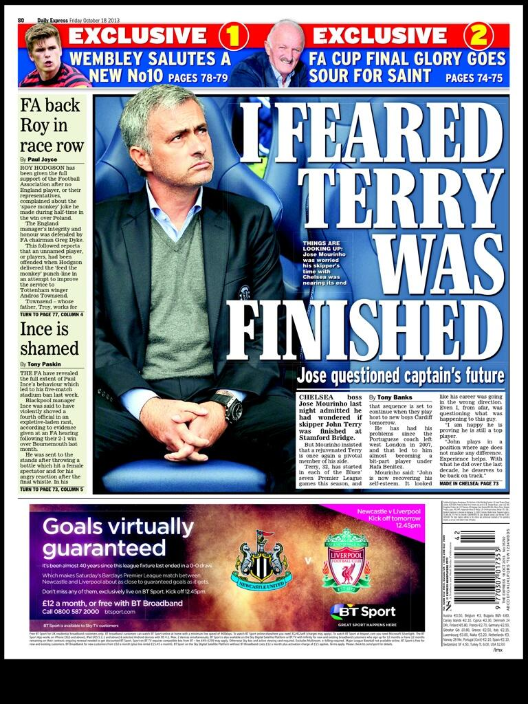Thursdays Express Sport: Mourinho: I feared Terry was finished