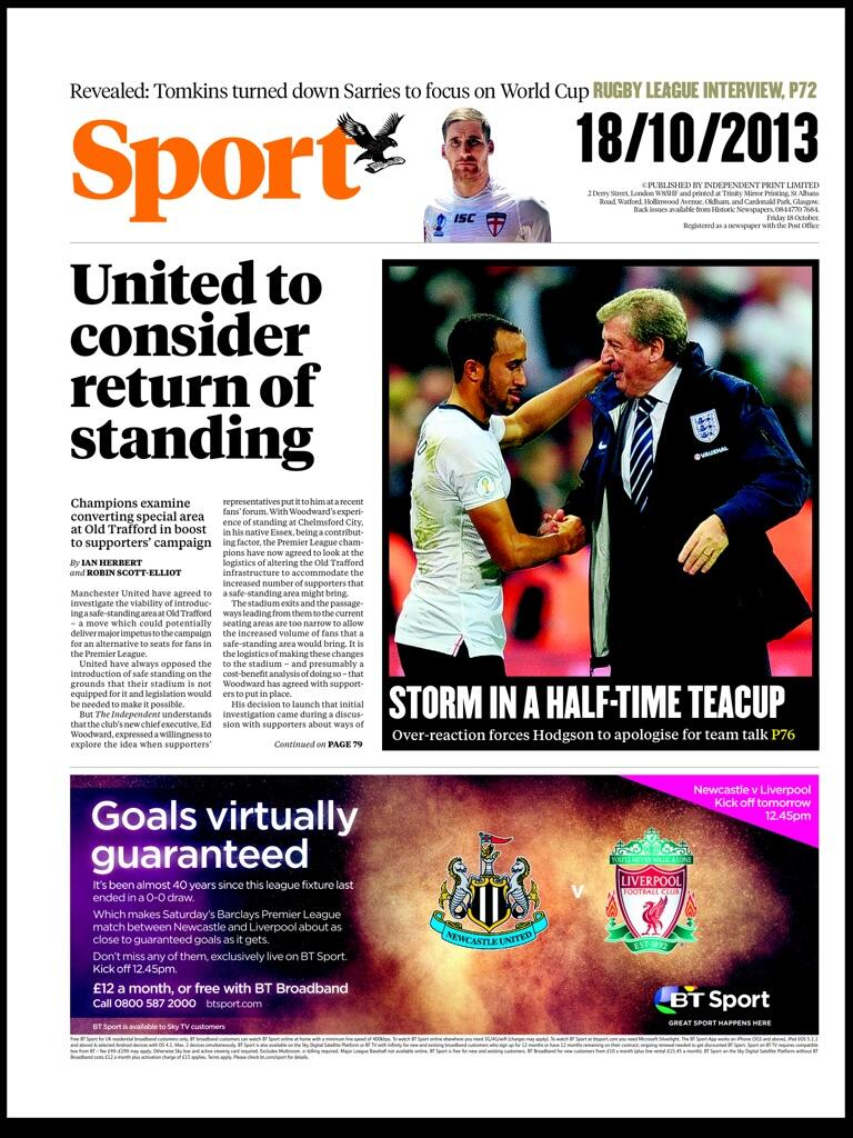 Thursdays Independent Sport: Manchester United to consider return to standing at Old Trafford