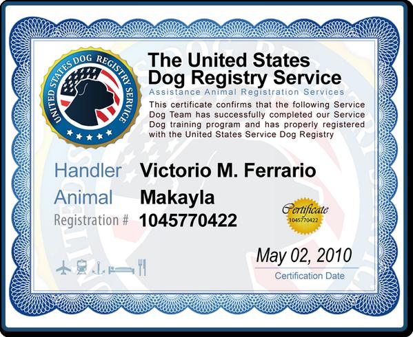 United States Service Dog Registry
