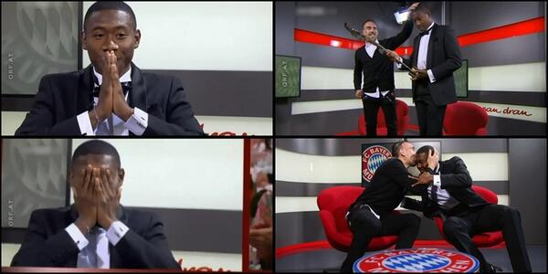 Cute! Franck Ribery gives Bayern teammate David Alaba Austrian Sportsman of the Year award