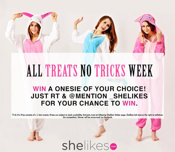"""#WIN a #Onesie as part of our """"All Treats No Tricks"""" competition simply FOLLOW & RT for your chance to WIN!! #freebie http://t.co/jZyltPWrIK"""