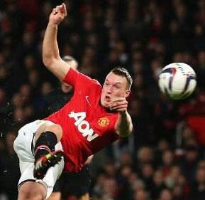 Gurn! Phil Jones pulled The Face as he scored volley last night! (Manchester United 4   Norwich 0)