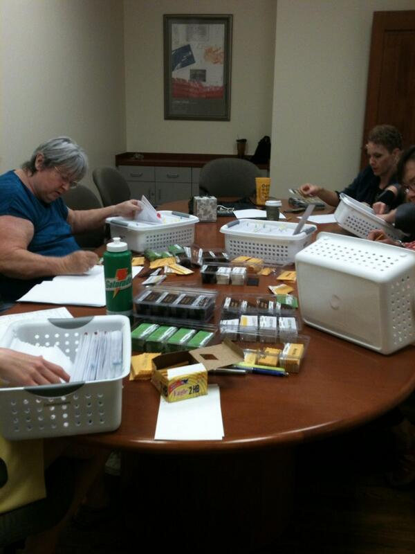 Registration packet stuffing party. It's getting close to #SUHRW @SouthwesternU http://t.co/6EbrykRfC1