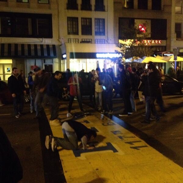 Red Sox fans celebrate at Boston Marathon finish line