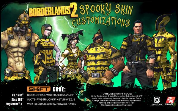 "Gearbox Software on Twitter: ""Looking to dress up today ... Borderlands 2 Shift Codes"