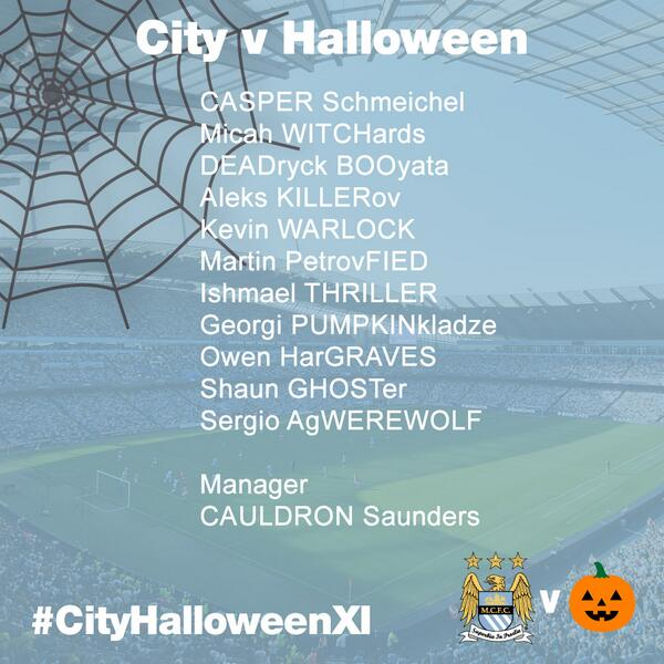 Manchester City publish a spooky Halloween City XI