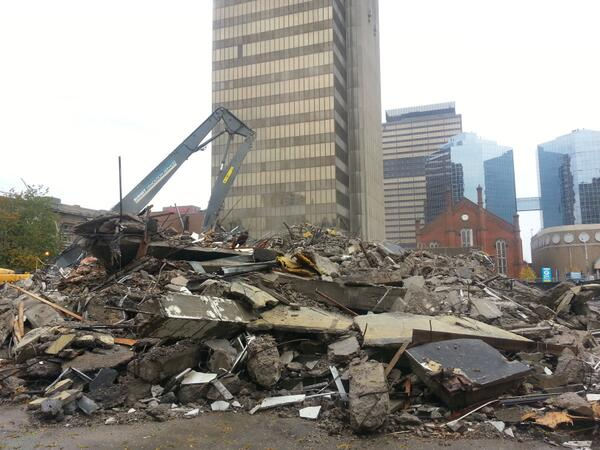Pile of rubble at 20 Jackson Street West in November (RTH file photo)