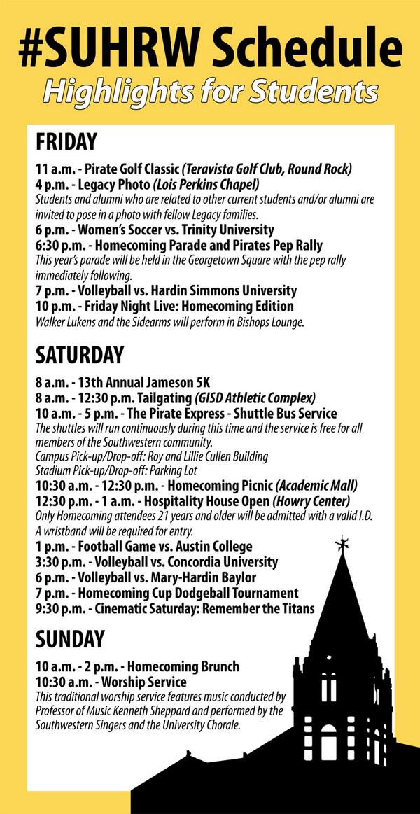 Homecoming and Reunion Weekend starts tomorrow! Check out our highlights schedule for students. #SUHRW http://t.co/P1YiG1012m