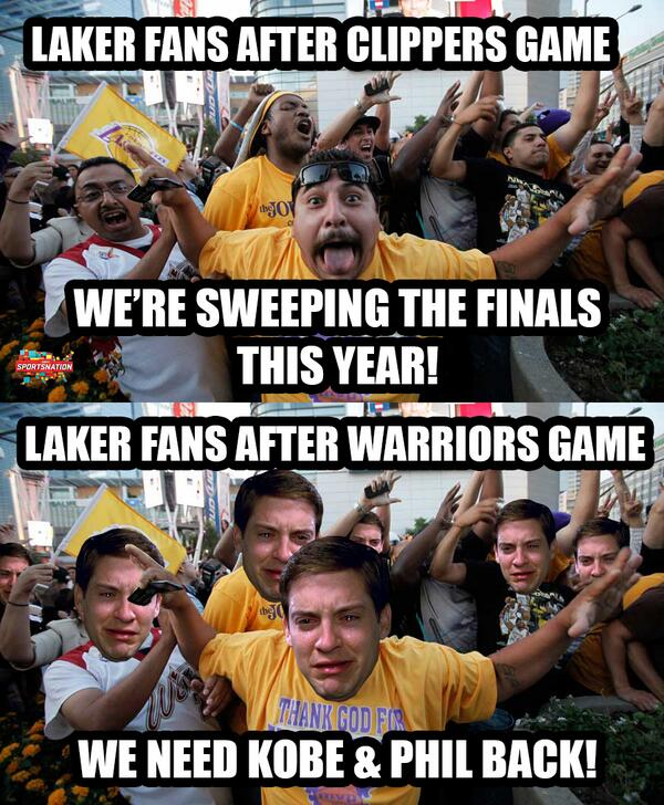 Looks like Laker fans had a swing of emotion after falling to the Warriors http://t.co/IK4XzvX3cD