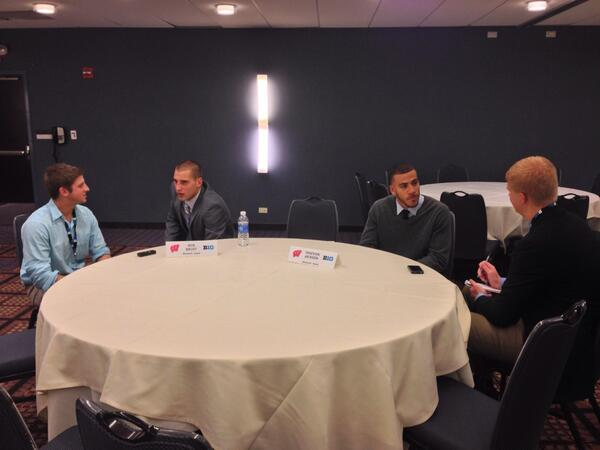 .@BenBrust & @T_Jacks12 holding court at #B1GMediaDay #Badgers http://t.co/hvlXZzWA6Z