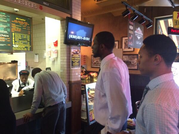#B1GMediaDay is over, but #Illini @1Abrams3 @egwu_32 @iJoeTales decided to stop by Portillo's before leaving Chicago http://t.co/BMtA0iW6aR