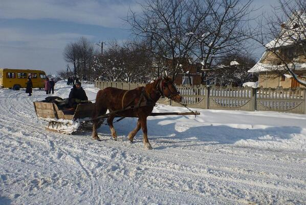 December 2012 10:00am, I got off the bus in Ukraine to discover that some people were commuting by sleigh. #PSCommute http://twitter.com/meredithmele/status/391925923261317120/photo/1