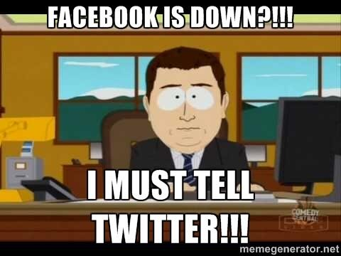 Facebook is down?! http://twitter.com/LinkHumans/status/392277834997043200/photo/1