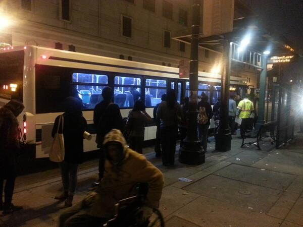 Transbay stop in downtown Oakland. Line was around the corner, but buses coming quick. #bartstrike http://twitter.com/reynoldspost/status/392287694002196480/photo/1