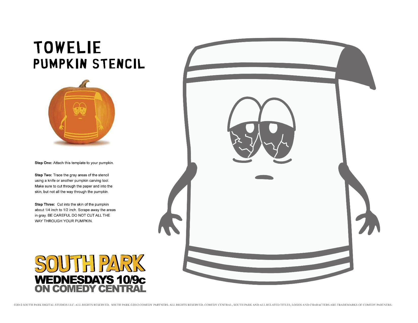 South Park On Twitter Halloween Use This Stencil To Carve Your Very Own Towelie Pumpkin No YOURE A Towel Tco OnNXSDgBoJ