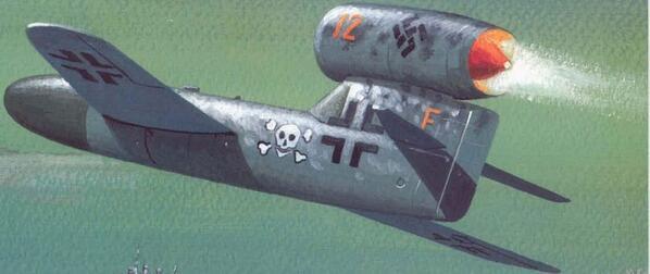 プロイェクトF(Project F)。第三帝国が1940年代に研究していたダイムラーベンツ・プロイェクトFなる巨大爆撃機に搭載する飛行爆弾のイラスト。この飛行爆弾は有人だが最終的に乗員はパラシュートで脱出して無人で目標へ向かう。