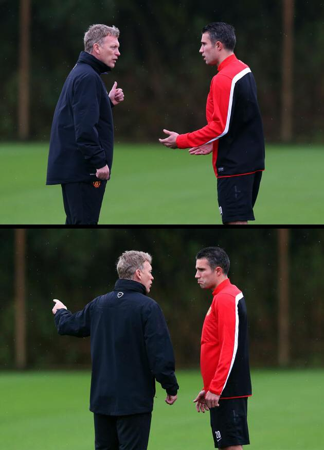 Looks like Robin van Persie was scolded by David Moyes at training