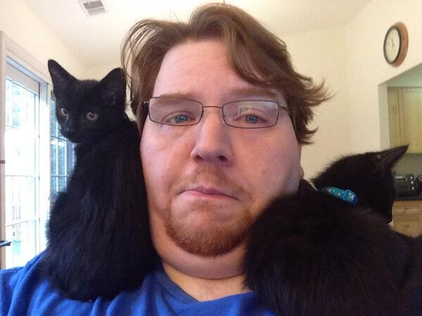 The Inky Twins riding my shoulders
