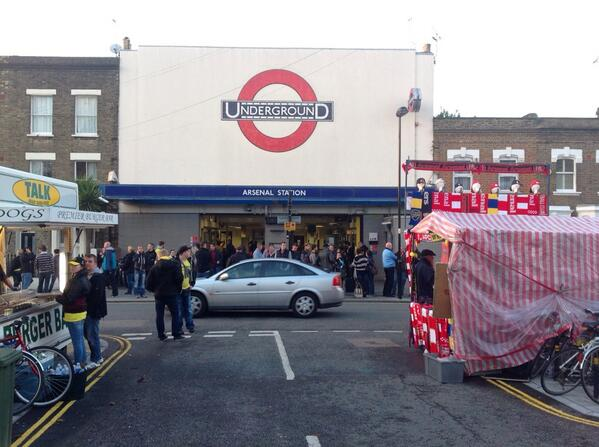 Picture: Dortmund fans gather outside Arsenal tube