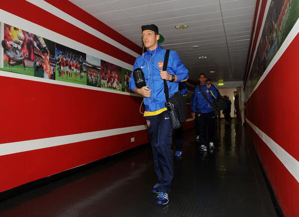 Picture: Mesut Ozil arriving at Emirates stadium ahead of the Arsenal vs Dortmund clash