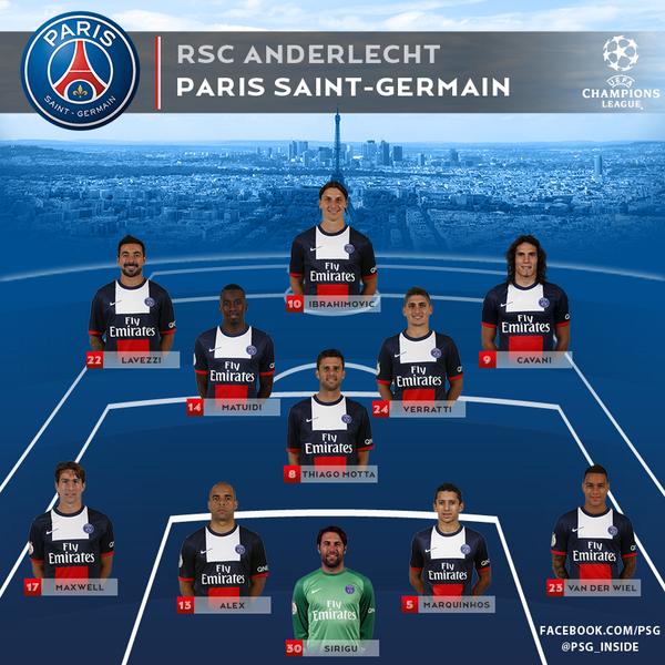 #PSG team to face Anderlecht: Sirigu, VdW, Maxwell, Alex, Marquinhos, Mitts, Verratti, Matuidi, Cavani, Lavezzi, Ibra http://t.co/4VRcUbCLvB