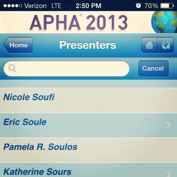 Getting really excited for #APHA13 & geeking out about seeing my name listed on the conference app. http://twitter.com/nicolesoufi/status/393089969868525568/photo/1