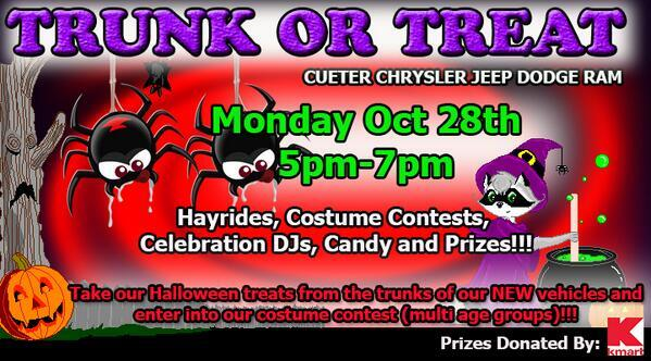Cueter Chrysler Jeep Dodge Ram On Washtenaw Avenue In Ypsilanti Is Having A  Trunk Or Treat Event On Monday, 10/28/13 From 5 U2013 7 Pm!