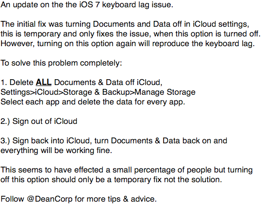 An update and complete solution to fixing the iOS 7 keyboard lag/delay issue. http://t.co/HCOIcGBMz2
