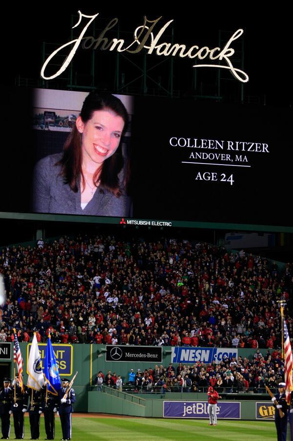 PHOTO Moment of silence for fallen teacher teacher Colleen Ritzer before start of World Series http://t.co/JFmUnT2M0v http://t.co/5Ci6RKITOS