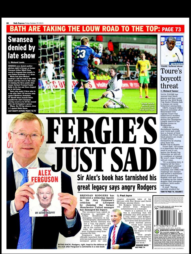 Fridays Express Sport: Fergies Just Sad (Rodgers)