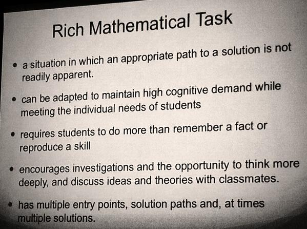 Here's @LindaGojak's slide from #NCTMVegas session: 'It's Raining Rich Problems!' http://t.co/7q9CBfUABA
