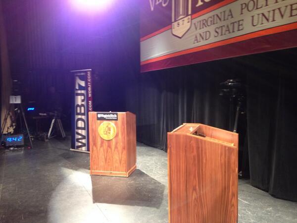 @wdbj7  haymarket  theater at Virginia tech  preparing for governors debate http://twitter.com/JJadhonWDBJ7/status/393485360040124416/photo/1