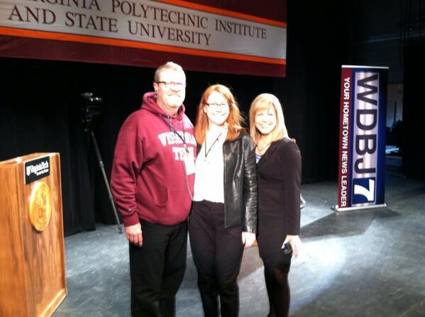 @wdbj7. @Kim_Pinckney senior producer and chief photog Lynn Eller at Virginia tech for tonight's debate http://twitter.com/JJadhonWDBJ7/status/393485777062998017/photo/1